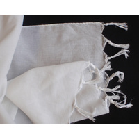Fine White Cotton Voile Scarf with Fringe 50 x 200cm -  1 Doz (12)