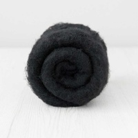 28 micron Carded Wool Batts Black
